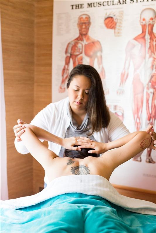 Passive Shoulder Stretch during Massage Image